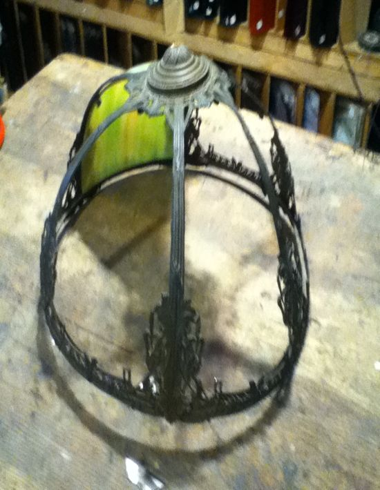 Curved slag glass panel lamp repair near me.