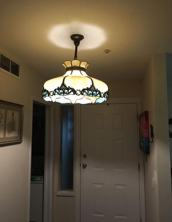 Curved glass lamp panel repair.