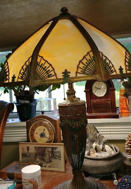 Slag glass panel lamp repair