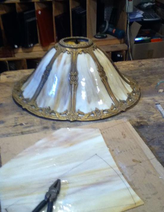 curved slag glass lamp panel repair