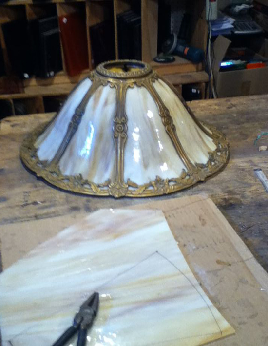 curved slag glass lamp panel repair