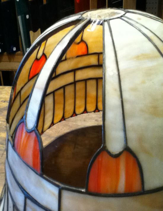 stained glass lamp shade repair