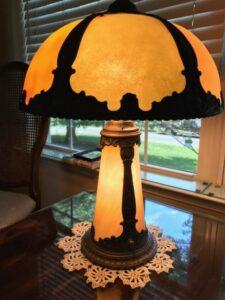 slag glass lighted lamp base repair