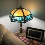 Curved slag glass panel lamp repair