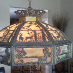 Metal filigree slag glass lamp panel repair