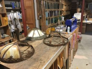 Tiffany stained glass restoration work bench