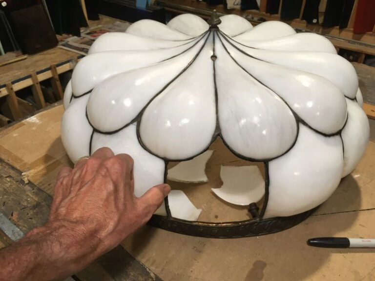 Slag glass lamp repair