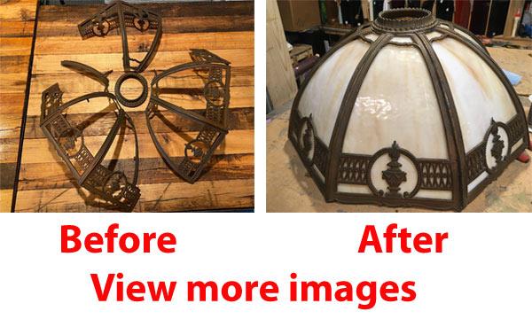 Bend glass lamp panel repair